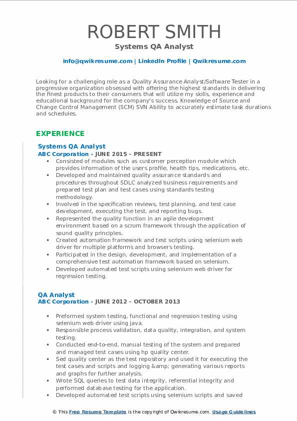 Systems QA Analyst Resume Template