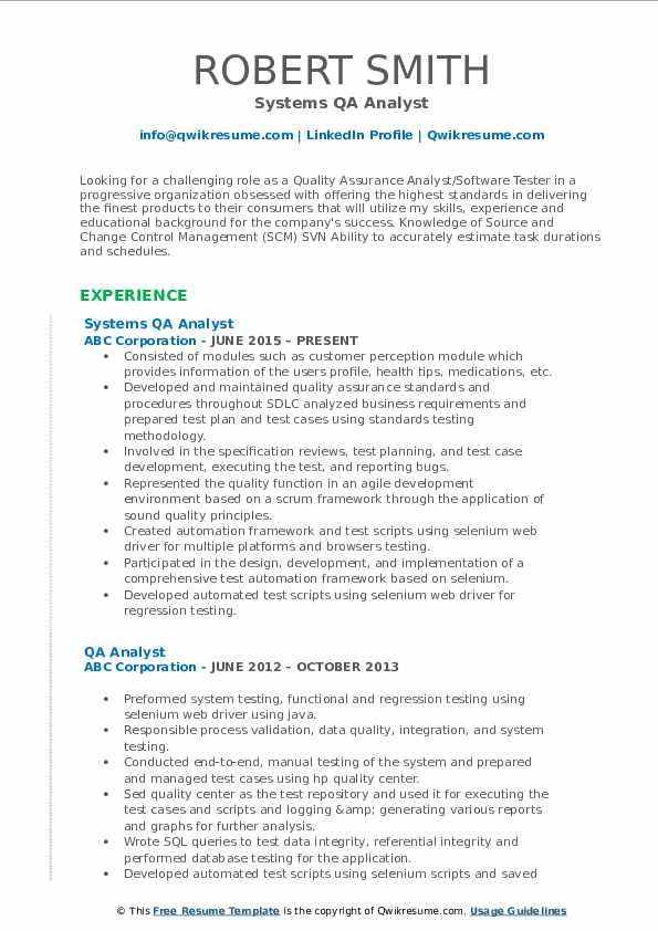 Systems QA Analyst Resume Model