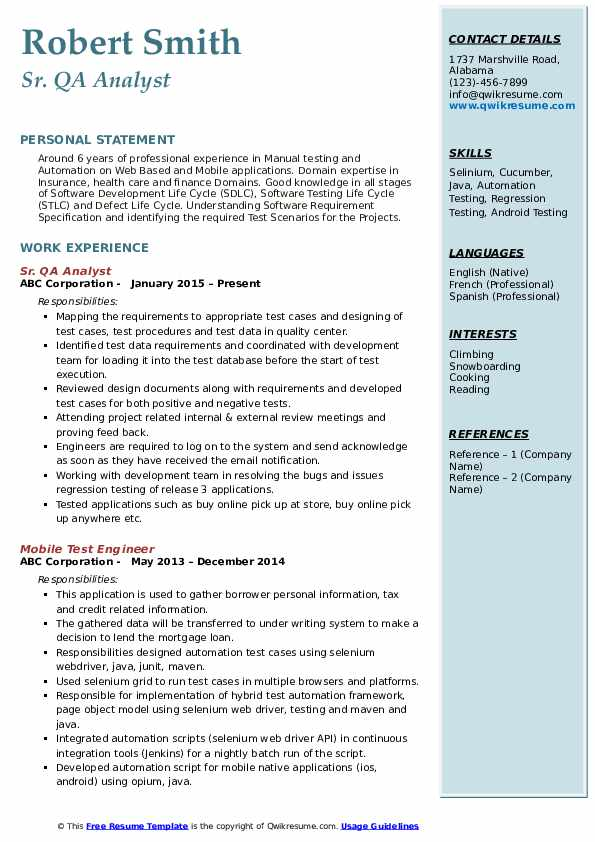 Sr. QA Analyst Resume Example