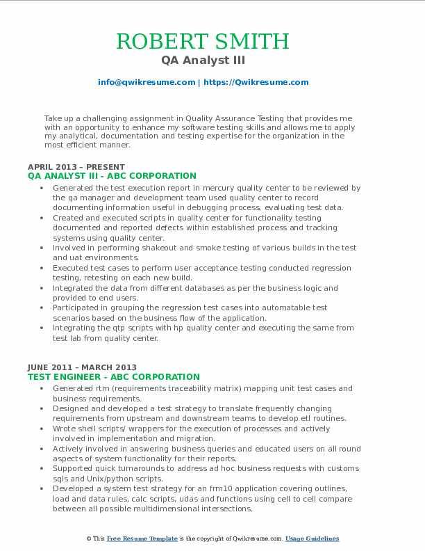 QA Analyst III Resume Format