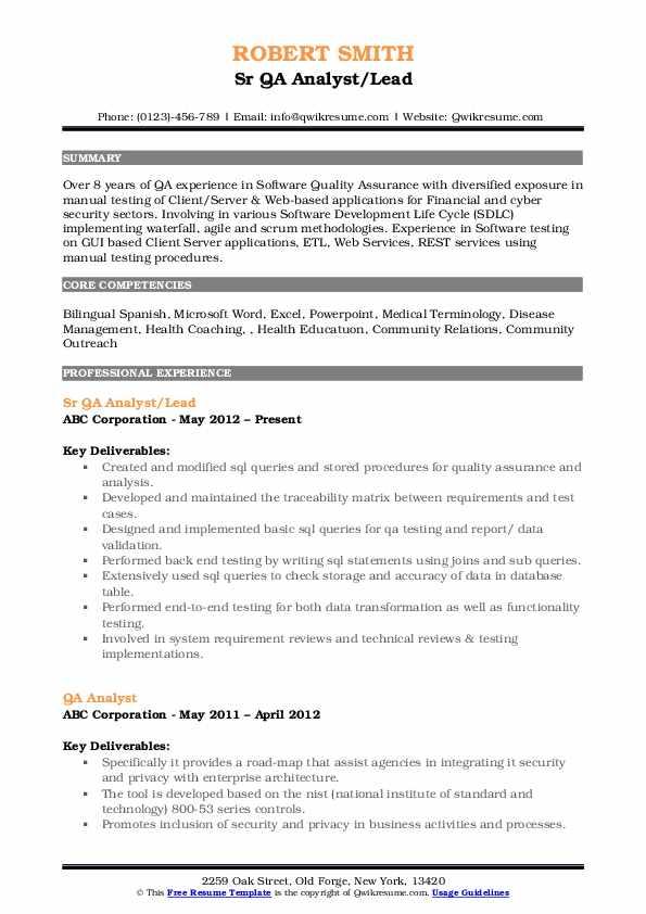 Sr QA Analyst/Lead Resume Sample