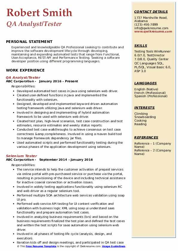 QA Analyst/Tester Resume Template