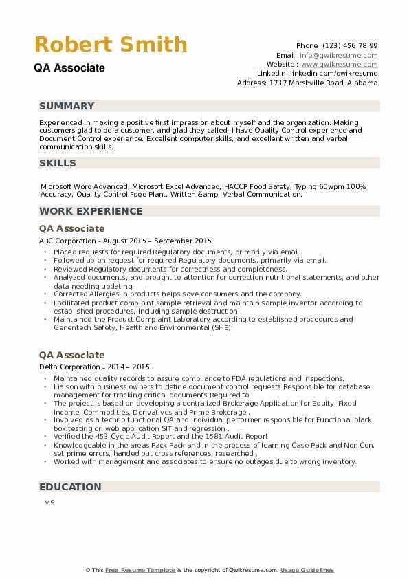 QA Associate Resume example