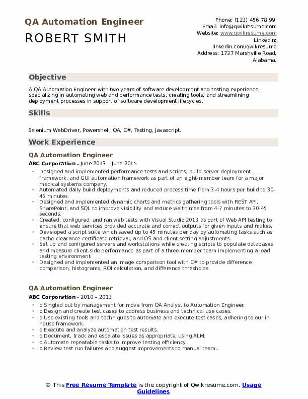 Qa Automation Engineer Resume Samples Qwikresume