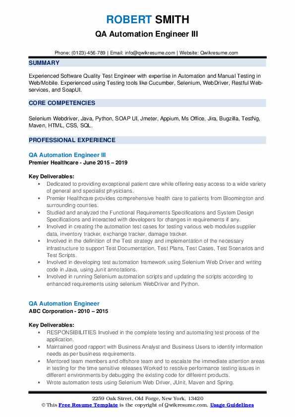 QA Automation Engineer III  Resume Format