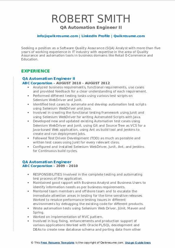 QA Automation Engineer II Resume Example