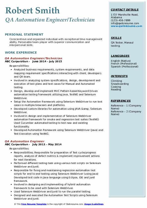 QA Automation Engineer/Technician Resume Template