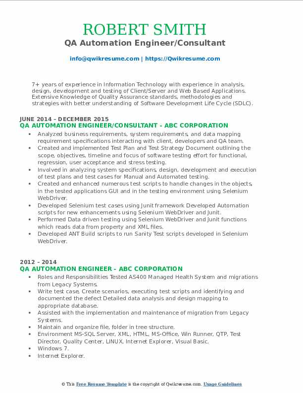 QA Automation Engineer/Consultant Resume Example