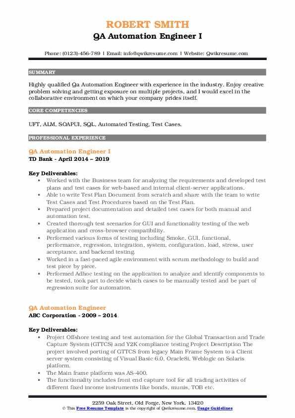 QA Automation Engineer I Resume Model