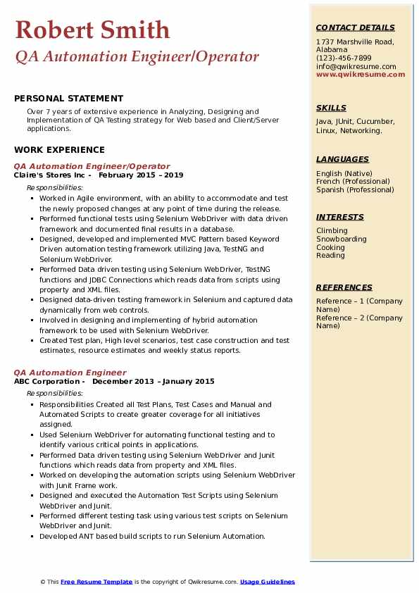 QA Automation Engineer/Operator Resume Model