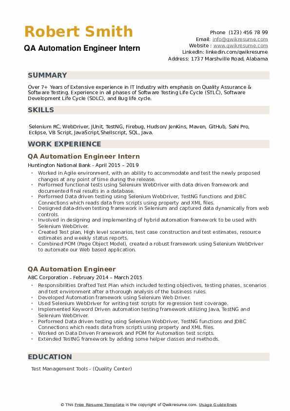 QA Automation Engineer Intern Resume Model