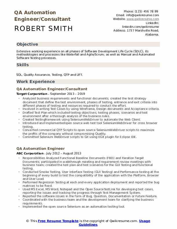 QA Automation Engineer/Consultant Resume Model