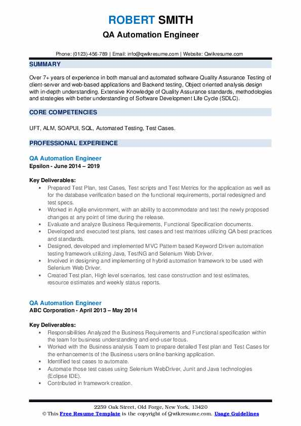 QA Automation Engineer Resume example