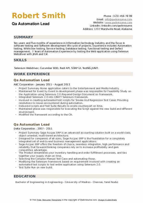 QA Automation Lead Resume example