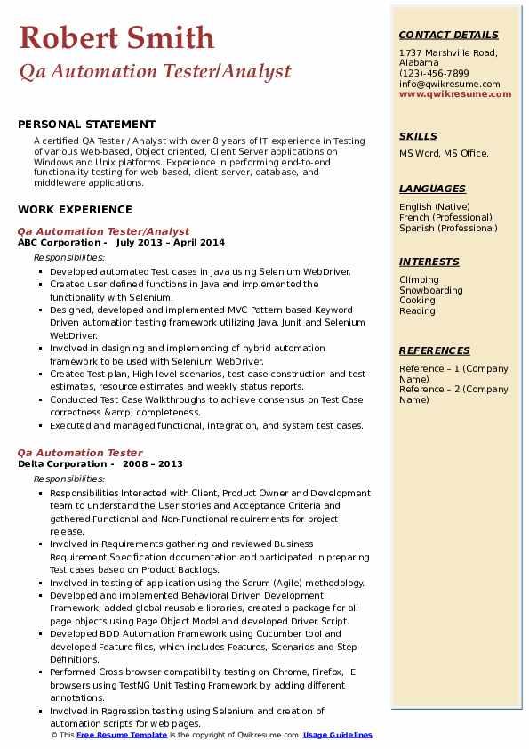 qa automation tester resume samples