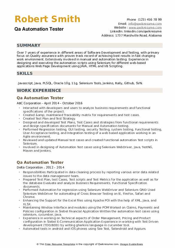 Qa Automation Tester Resume example