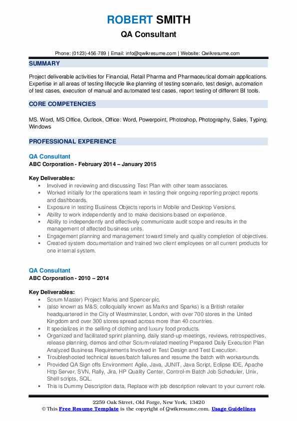 Qa Consultant Resume example