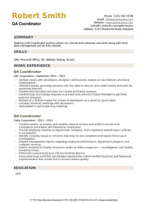 QA Coordinator Resume example