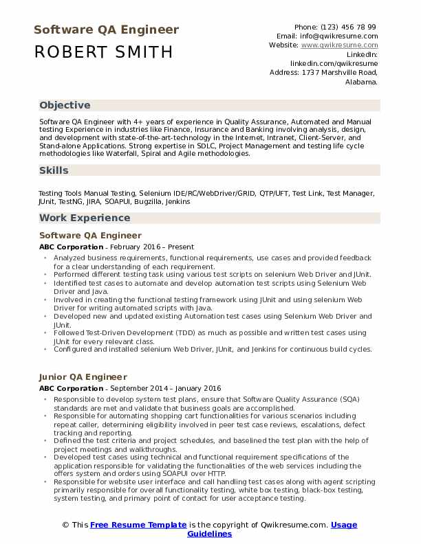 QA Engineer Resume Samples | QwikResume
