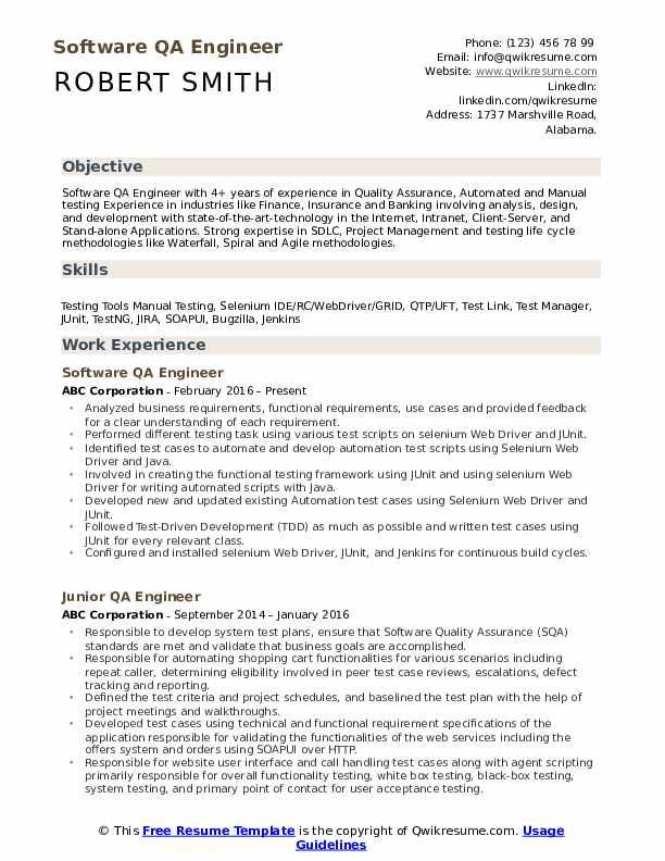qa engineer resume samples