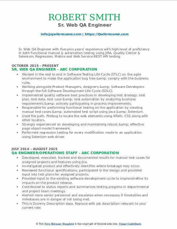 Sr. Web QA Engineer Resume Model
