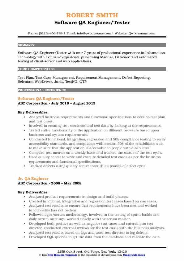 Software QA Engineer/Tester Resume Sample