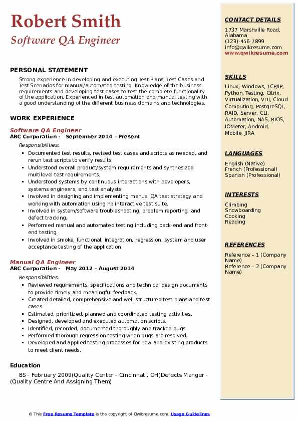 QA Engineer Resume Samples | QwikResume