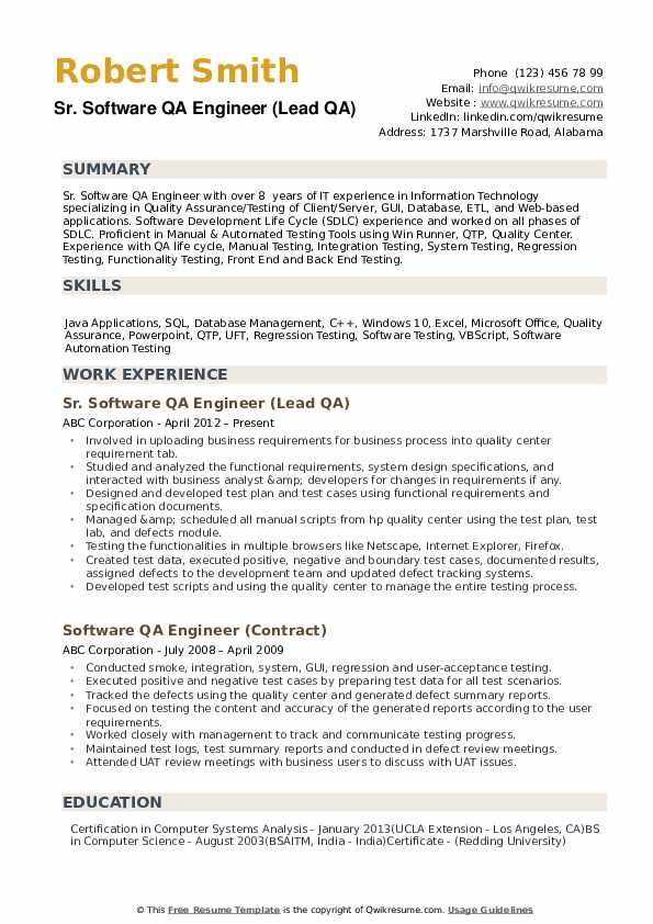 Qa Engineer Resume Samples Qwikresume