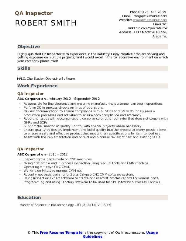 QA Inspector Resume Model