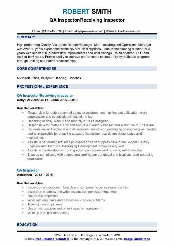 QA Inspector/Receiving Inspector Resume Model