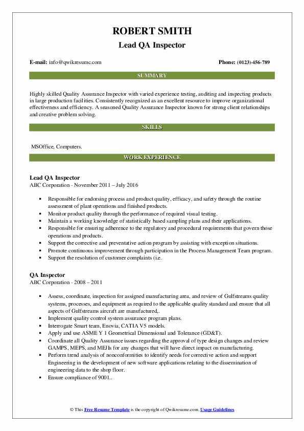 Lead QA Inspector Resume Model