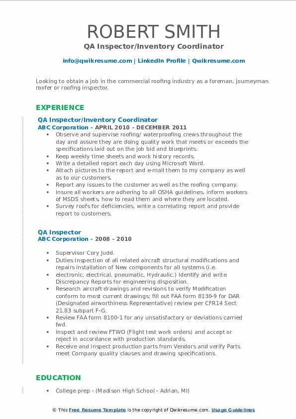 QA Inspector/Inventory Coordinator Resume Example