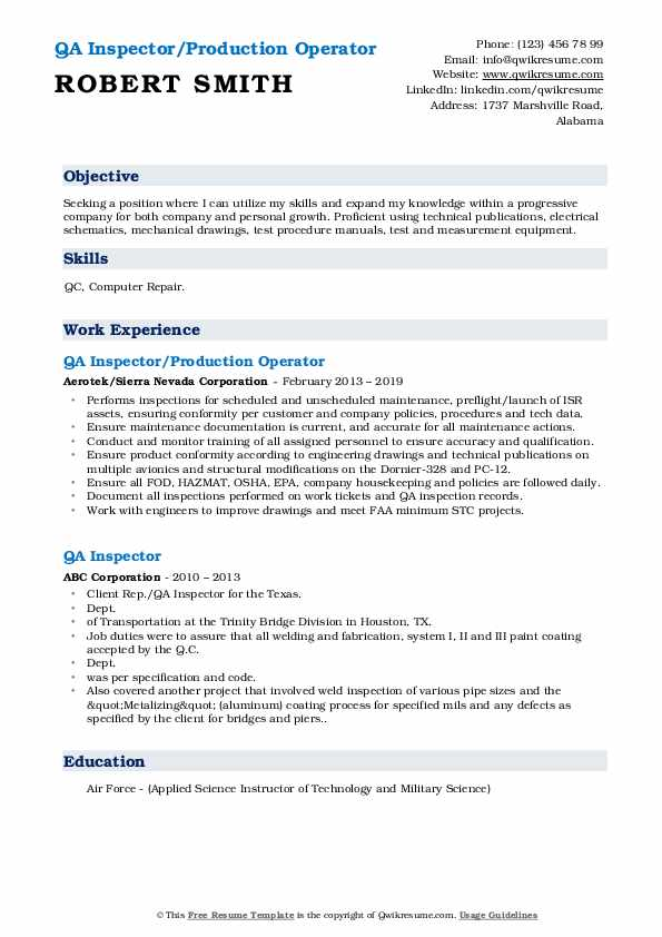 QA Inspector/Production Operator Resume Example