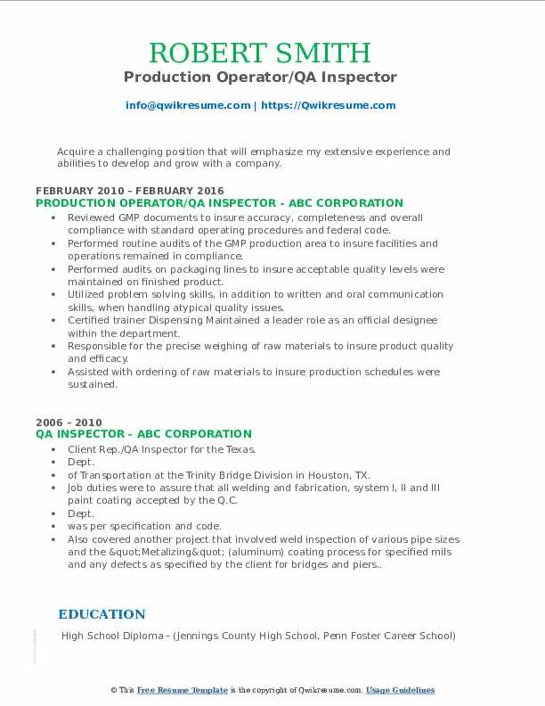 Production Operator/QA Inspector Resume Model
