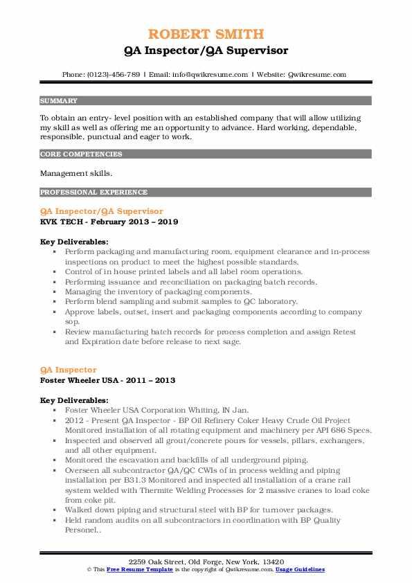 QA Inspector/QA Supervisor Resume Model