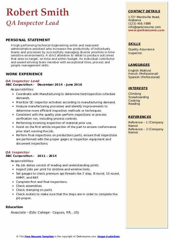 QA Inspector Lead Resume Model