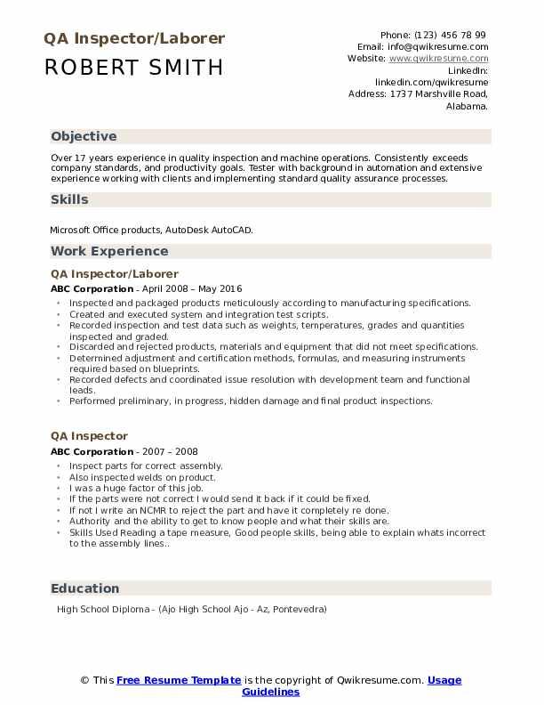 QA Inspector/Laborer Resume Format