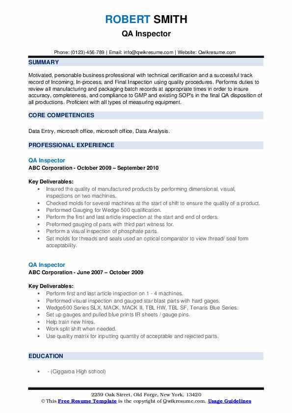 QA Inspector Resume example
