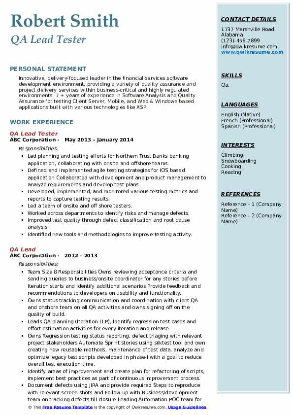 Qa Lead Resume Samples Qwikresume