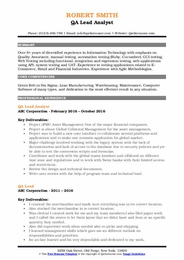 Resume qa lead management accounting and integrated information systems a literature review