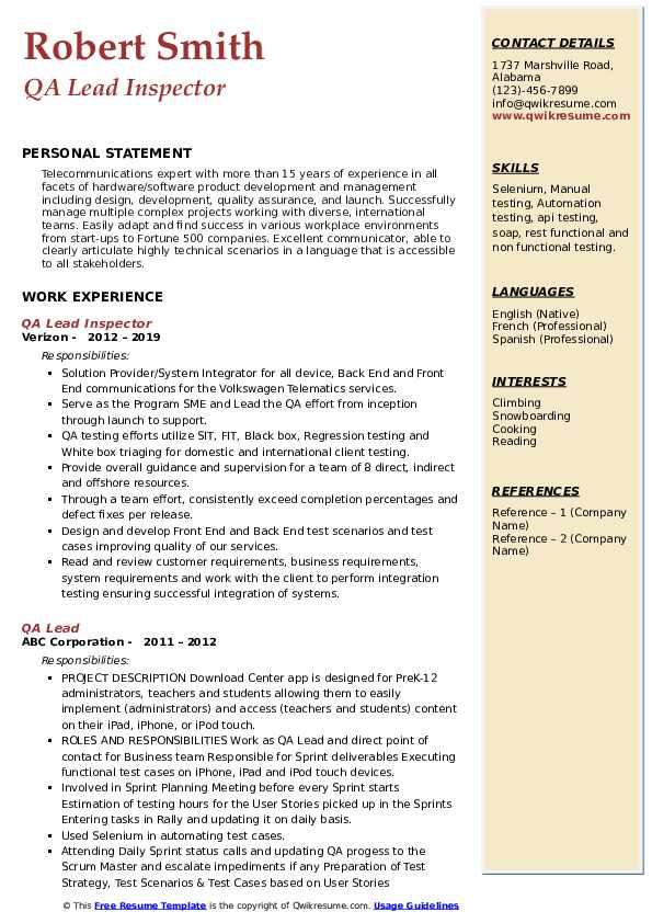 qa lead resume samples