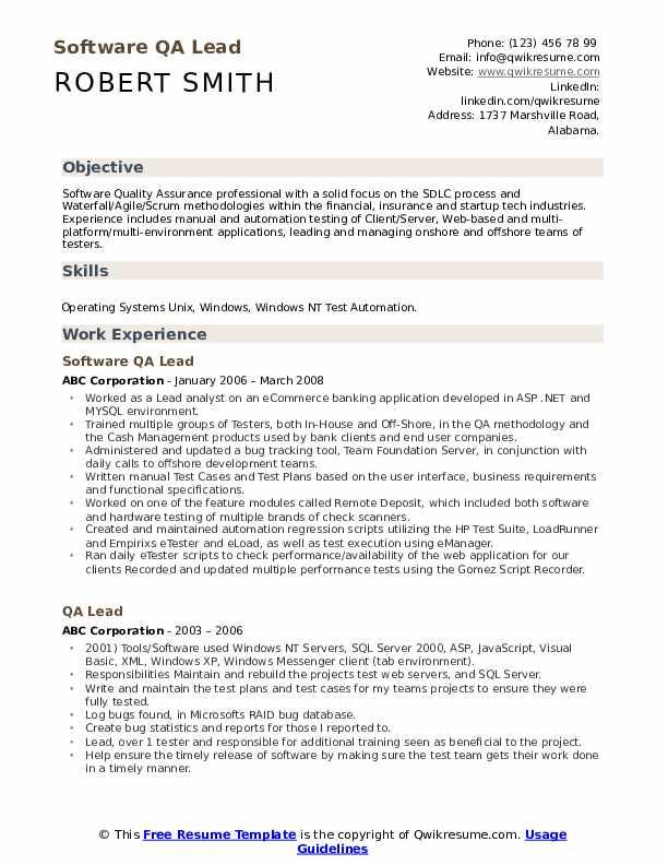 resume qa lead