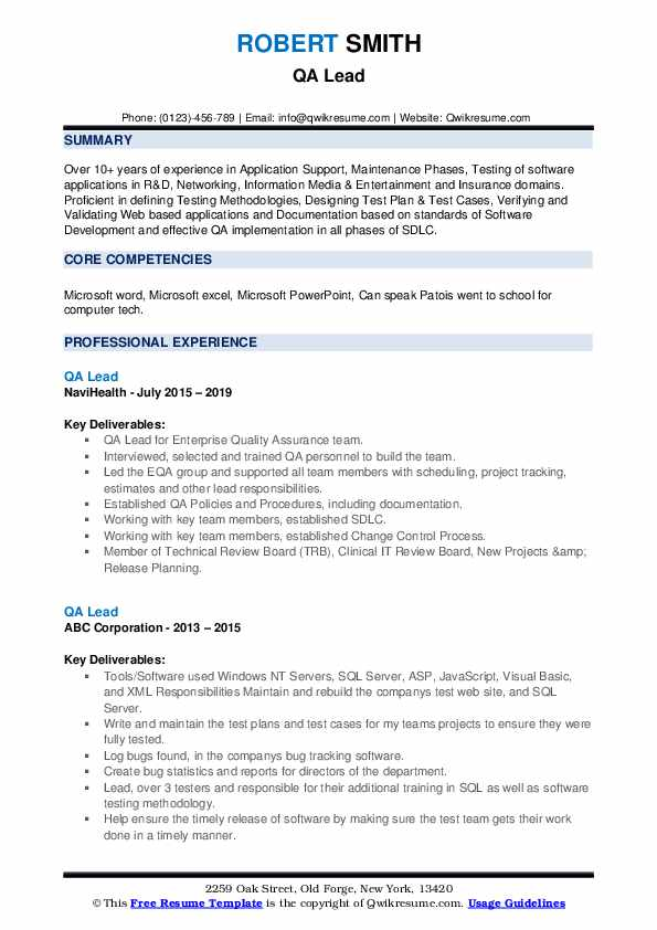 qa lead resume samples