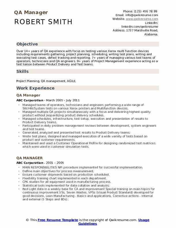QA Manager Resume Model