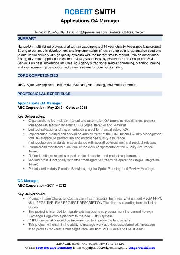 Applications QA Manager Resume Template