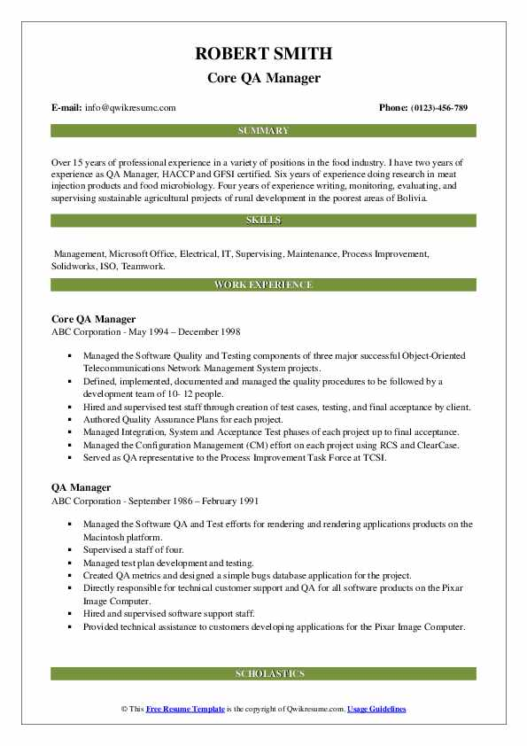 Core QA Manager Resume Format
