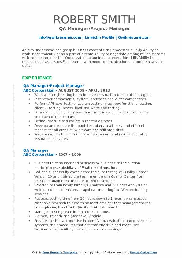 QA Manager/Project Manager Resume Format