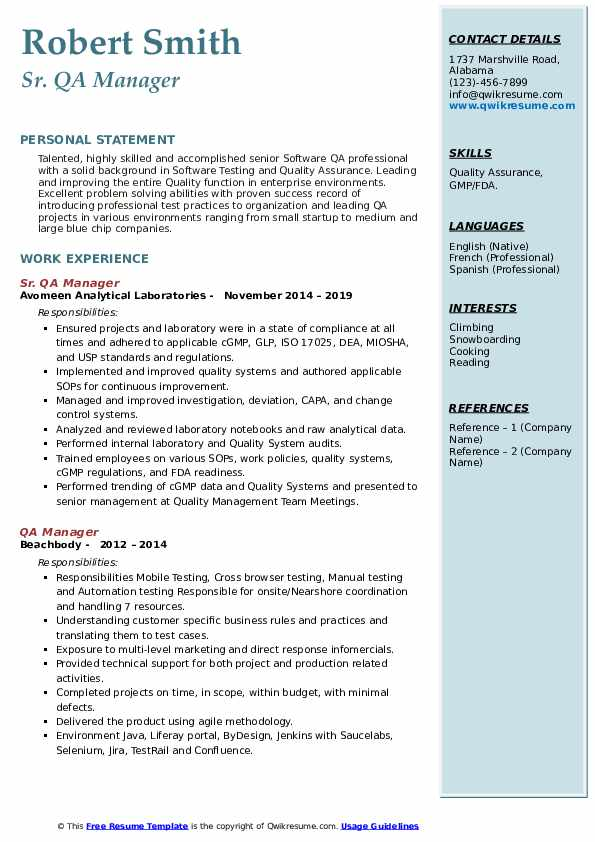Sr. QA Manager Resume Example