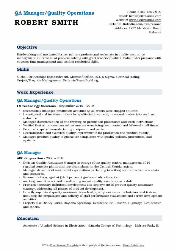 QA Manager/Quality Operations Resume Sample