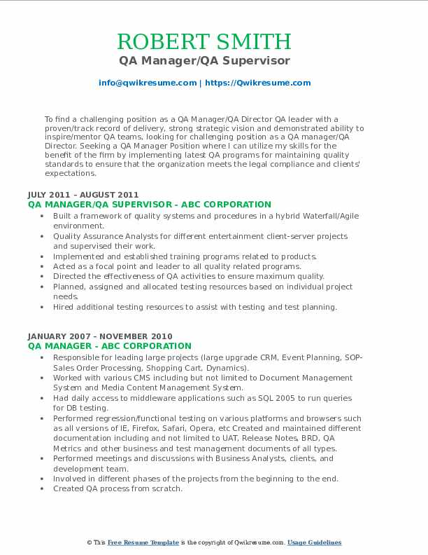 QA Manager/QA Supervisor Resume Model